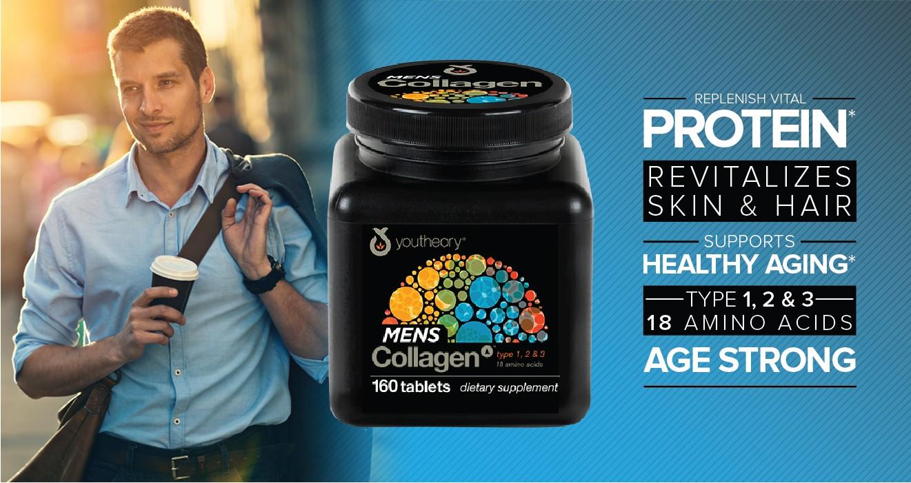 Review viên uống Collagen Youtheory Type 1 2 & 3 cho nam giới