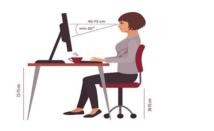 khoảng cách ngồi máy tính