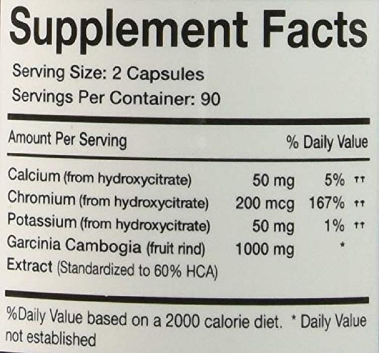thành phần Garcinia Cambogia 60% HCA