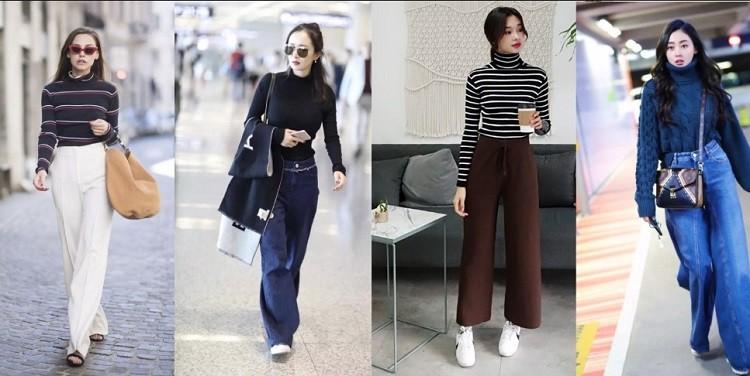 Áo len mix với quần ống rộng