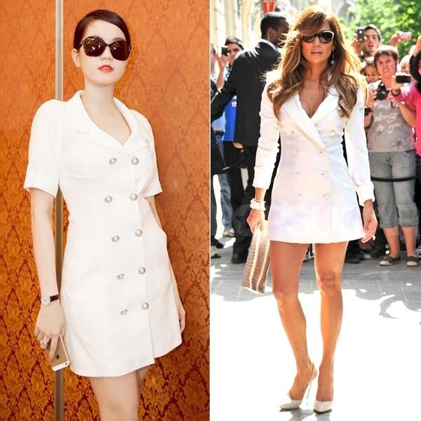 Váy trắng phom áo măng tô