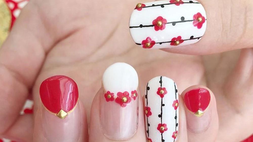 Mẫu nail hoa đào, hoa mai