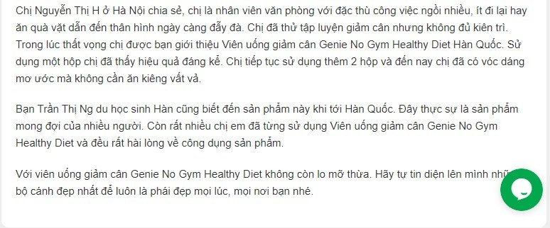Viên Uống Giảm Cân Genie No Gym Healthy Diet